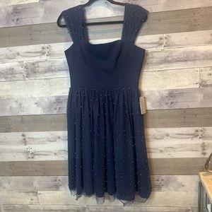 NWT GMG Delores Vintage Pearl Mesh & Crepe Dress